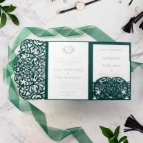 Tannengrüne Pocket Einladung mit Laser geschnittenem Ornamenten (5-603-167)