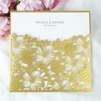 Pocketeinladung mit Laser geschnittenem Blumen Ornamenten (5-620-161)