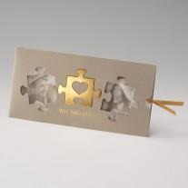 Hochzeitseinladung Gold-Puzzle (725054D)