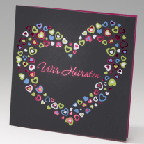 Hochzeitseinladung bunte Herzen (725257)