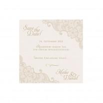 Dank- oder Save-the-Date Karte (4 Stück) passt zur Hochzeitseinladung -  Romantische Spitze (725548)