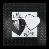 Stilvolle Hochzeitseinladung mit Herzen und luxuriösen Details