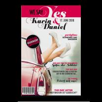 Moderne Hochzeitseinladung im Magazin-Stil mit Ihren Namen auf dem Cover