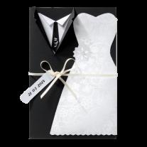 Kreative Hochzeitseinladung mit Traukleidung und vielen luxuriösen Details