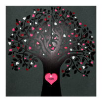 Moderne Hochzeitseinladung mit einem Baum aus Herzen