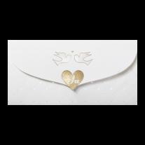 Hochzeitseinladung in Hülle mit Magnetverschluss und Goldfolie