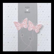Romantische Hochzeitseinladung in Banderole mit hellrosa Schmetterlingen