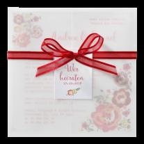 Farbenfrohe Hochzeitseinladung mit Banderole und Blumenaufdruck