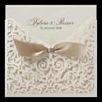Hochzeitseinladung in stilvoller Mappe mit Barockaufdruck und  Band