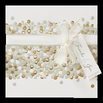 Moderne Hochzeitseinladung mit Namensetikett, Punkten und echtem Glitzer