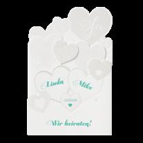 Moderne Hochzeitseinladung mit Kreativem Herzchen-Ausschnitt