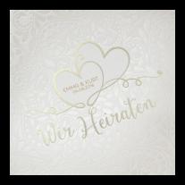 Romantische Hochzeitseinladung auf stilvollem Perlmuttpapier mit Relief