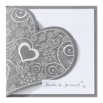 Hochzeitseinladung mit zierlichem Herzen und perlmuttweißem Einschubblatt