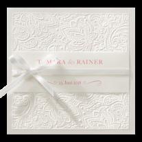 Klassische Hochzeitseinladung mit Ihren Namen auf Transparentpapier