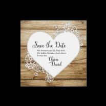 Save-the-Date passend zur Hochzeitseinladung mit Gerüstbohlen