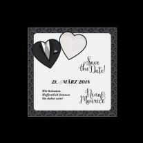 Save-the-Date passend zur Hochzeitseinladung mit Herzen