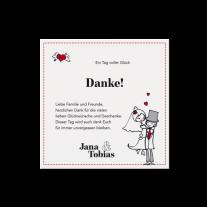 Dankeskarte passend zur runden Hochzeitseinladung mit lustigen Icons