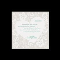 Dankeskarte passend zur Hochzeitseinladung mit zwei Herzen