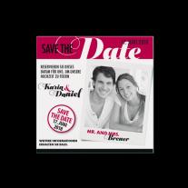 Save-the-Date passend zur modernen Hochzeitseinladung im Magazin-Stil
