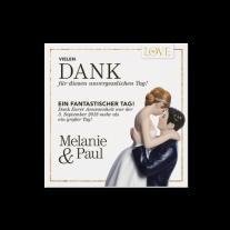 Dankeskartepassend zur Hochzeitseinladung im Magazin-Stil