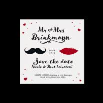 Save-the-Date passend zur hippen Mr. & Mrs. Hochzeitseinladung