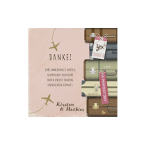 Dankeskarte passend zur modernen Hochzeitseinladung im Reisethema