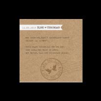 Save-the-Date passend zur Kreativen Hochzeitseinladung im Stil eines Flugtickets