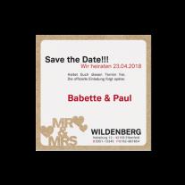 Save-the-Date passend zur hippen Hochzeitseinladung mit Typographie