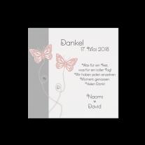 Dankeskarte passend zur romantischen Hochzeitseinladung