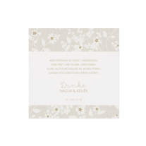 Dankeskarte passend zur viereckigen Hochzeitseinladung mit Blumen