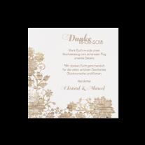 Dankeskarte passend zur Hochzeitseinladung mit Blumen auf Holzmotiv