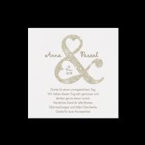 Dankeskarte passend zur Hochzeitseinladung mit Kreativem Ausschnitt