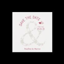 Save-the-Date passend zur modernen Hochzeitseinladung mit Ausschnitt