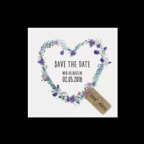 Save-the-Date passend zur Hochzeitseinladung mit romantischen Elementen