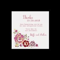 Dankeskarte passend zur Hochzeitseinladung mit Banderole