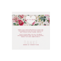 Dankeskarte passend zur klassischen Hochzeitseinladung mit Blumen