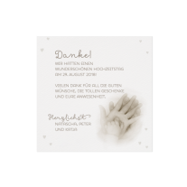 Dankeskarte passend zur einzigartigen Hochzeitseinladung mit Kinderhand