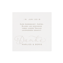 Dankkarte passend zur Schicke Hochzeitseinladung mit zierlicher Schriftart