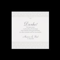Dankeskarte passend zur stilvollen Hochzeitseinladung in Perlmutt-Banderole