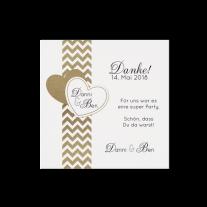 Dankeskarte passend zur schicken Hochzeitseinladung in moderner Aufmachung