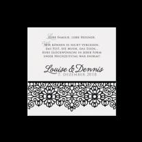 Dankeskarte passend zur luxuriösen Hochzeitseinladung in stilvollem Schwarz-Weiß