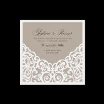 Dankeskarte passend zur Hochzeitseinladung mit Barockaufdruck und Band