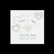 Save-the-Date passend zur modernen Hochzeitseinladung mit Kreativem Herzausschnitt
