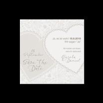 Save-the-Date passend zur perlmuttweißen Hochzeitseinladung