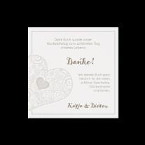 Dankeskarte passend zur Hochzeitseinladung mit Herzausschnitt