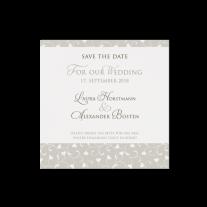 Save-the-Date passend zur Hochzeitseinladung in stilvoller Banderole