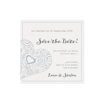 Save-the-Date passend zur Hochzeitseinladung mit zierlichem Herzen