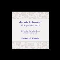 Save-the-Date passend zur eleganten Clutch-Hochzeitseinladung mit Barockmotiv