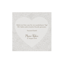 Dankeskarte passend zur Hochzeitseinladung mit Herzmotiv