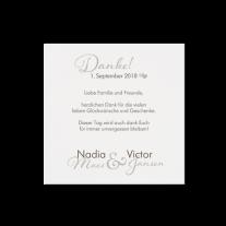 Dankkarte passend zur romantische Hochzeitseinladung auf Perlmuttpapier
